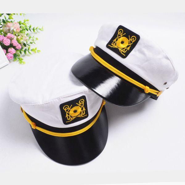 Navy Hat Cap for Men Women Children Anchor Logo Embroidered Army Cap Captain Hats Boys Girls Performing Uniform Cap Adjustable GH-246