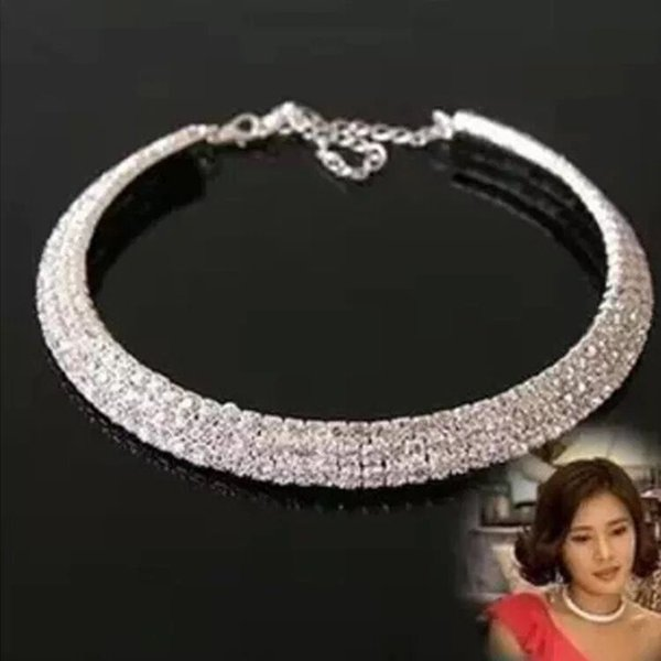 Hot sales Crystal Bridal Jewelry Sexy men-Made Diamond Necklace For Party Prom Formal Event Wedding Jewelry Set Bridal Accessories 3 Rows Rh