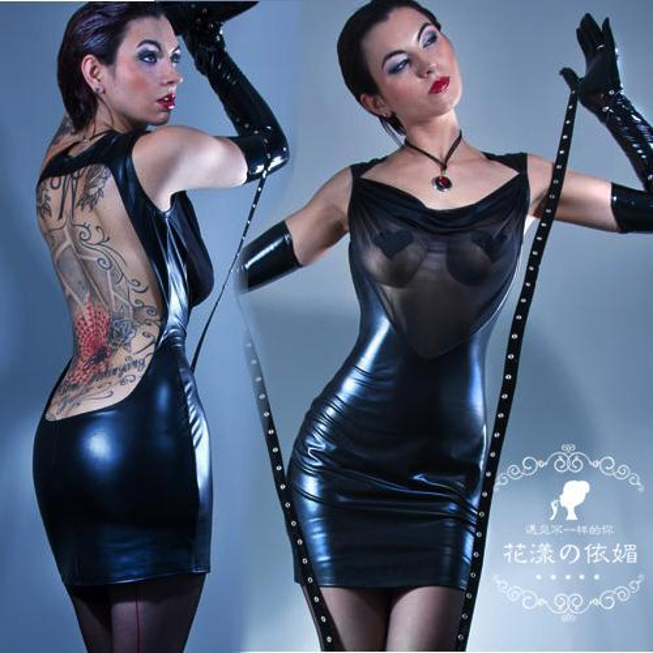 Hot Sale Women Sexy Backless Bodycon Club Dress Gothic Fetish Black PVC Faux Leather Dress Mesh See Throuth Night Clubwear