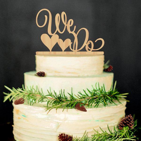 Großhandel romantische Doppel-Herz geformt wir tun hölzerne Hochzeitstorte Topper Dekoration