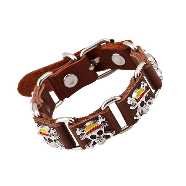 Vintage Pirate Skull Charm Bracelet Men's Casual Genuine Leather Bracelet With Metal Buckle Cool Punk Jewelry 2 Colors In Stock
