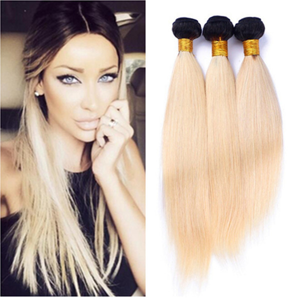 8A Ombre 613 Brazilian Virgin Hair 3 Bundles Straight Platinum Blonde Dark Roots Ombre Human Hair Extension Wholesale Price Remy Hair