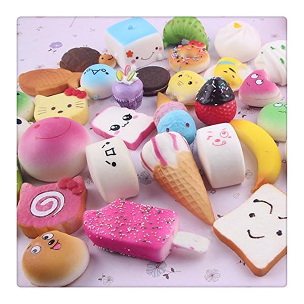 Wholesale Cute Mini Squishy Phone Straps Random Foods Phone Charm Key Chain Strap Lovely Soft Bread Cake Ice Cream Squishies Toys Free DHL