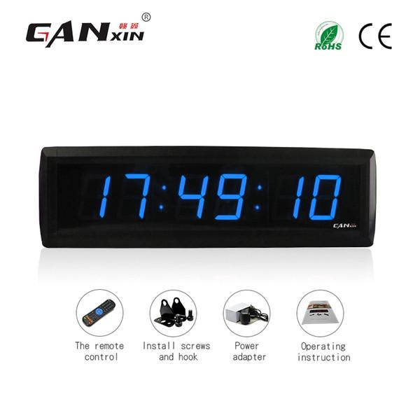 [Ganxin] Wholesale1.8 inch 6 digit Digital Wall Clock LED Display Remote Control Countdown Clocks Stopwatch Modern Design