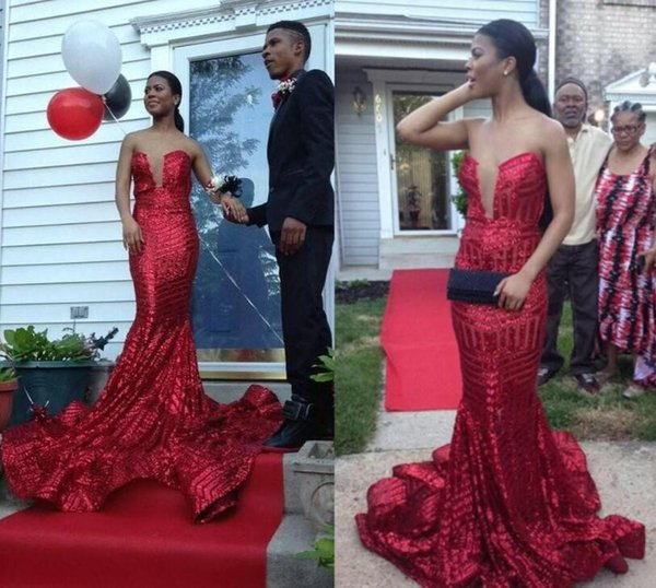 2017 New Design Long Mermaid Sequined Red Prom Dresses Long 2017 For ...