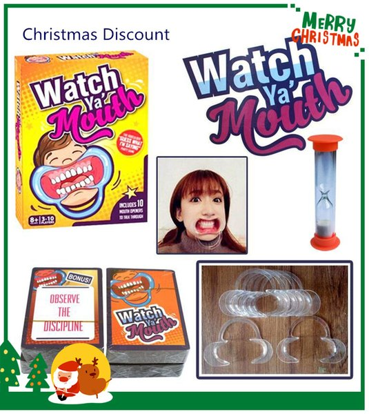 Christmas Celebration Party Game Board Game Watch Ya Mouth Game 200cards 10 mouthopeners Family Edition Hilarious Mouth Guard