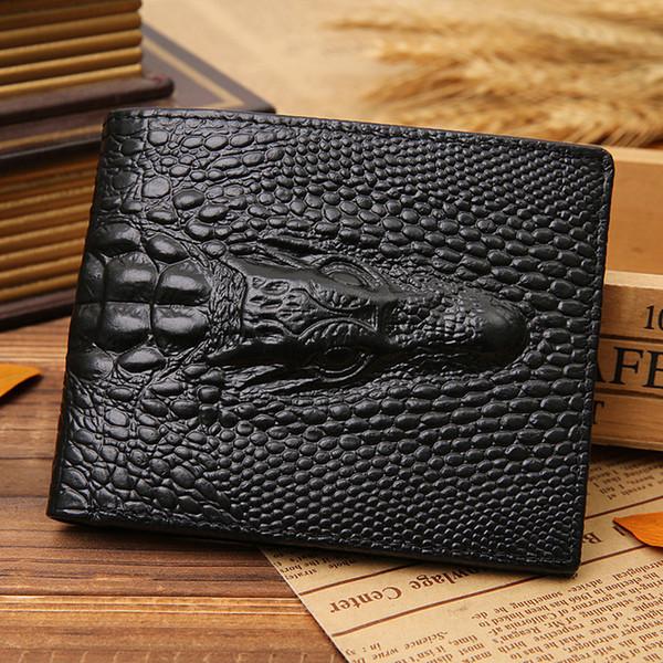 Fashion Crocodile Head Grain Men Wallets Genuine Leather Quality Cross Vertical Hidden Pocket Card Holder Wallet Free Shipping