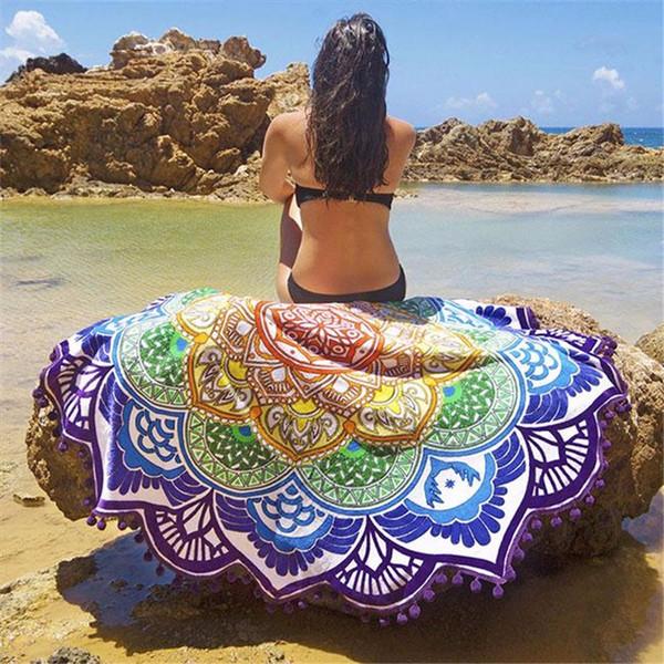 Moda Senhora Grande Lenço Impressão Polígono Lótus Colorido Toalha De Praia Borla Envoltório Ao Ar Livre Biquíni Cover-Up Cobertor Xaile