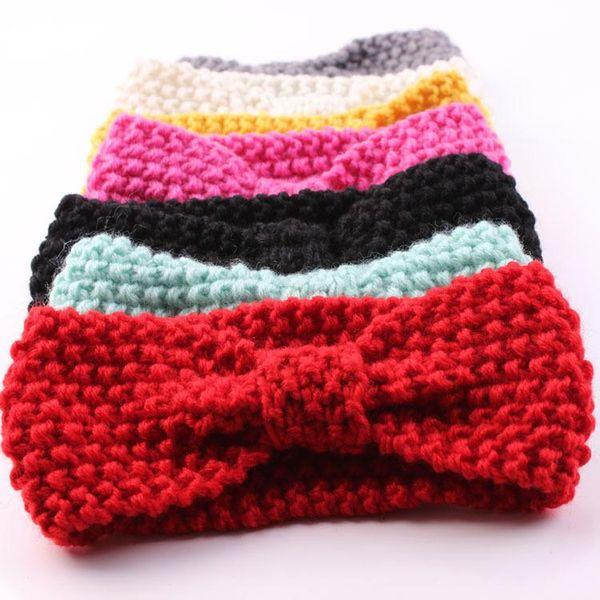 Cute Baby Turban Knitted Headbands Woolen Bow Crochet Knit Hairbands Winter Ear Warmer Head wraps bowknot Children Hair Accessories 7 Colors
