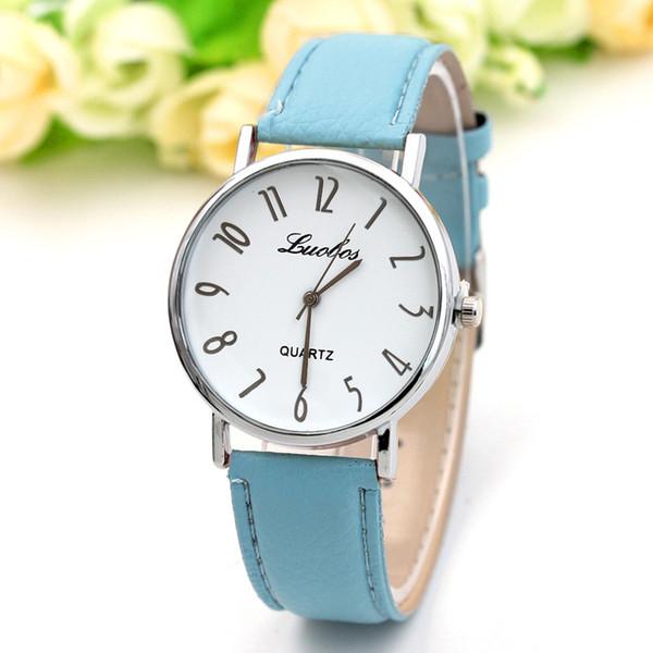 Hot Women Mens Watch 10 Colors Charm Glass Leather Strap Sport Quartz Unisex Wrist Dress Watches Wholesale Free Shipping