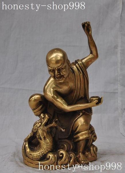 China Buddhism temple brass Joss Disciples arhat Rohan Lohan monk buddha statue