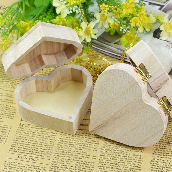 Wooden Love Heart Shape Box DIY Wood Color Mud Base Art Decor Wooden Crafts Storage Box Jewelry Box Gift