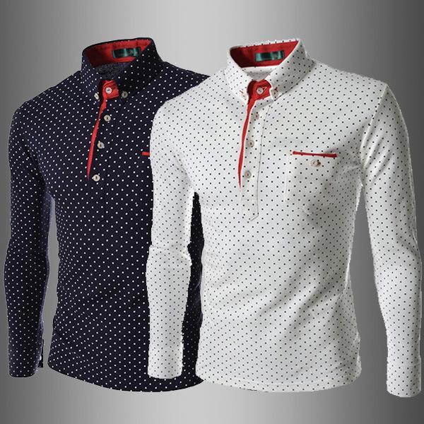 Homens Camisa Polo T Moda Lapela Polka Dot Impressão Lazer Fino Mangas compridas Inglaterra Estilo camisas de T