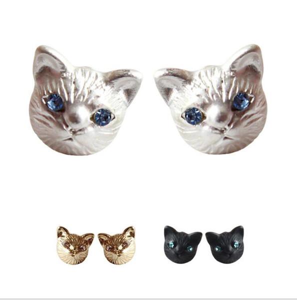 Cute animal 3D kitty Cat Stud Gold black silver Cat Crystal Stud Earrings for Women Fashion Jewelry