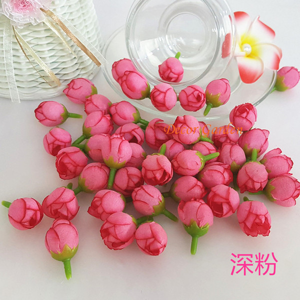 18Colors Artificial Small Tea Bud Flowers Silk Roses Hand Made For Diy Head Garlands Wedding Wrist Flowers Decoration Accessories fts01