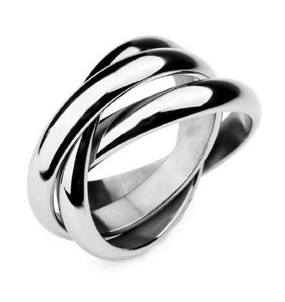 2017 Wholesale Sliver Plated tripleinterwoven band infinity ring statement three thumb Winding for girlfriend boyfriend birthday gift