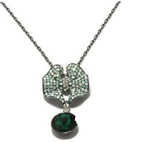 green diamond bead knot pendant lady's necklace (xysppfh)