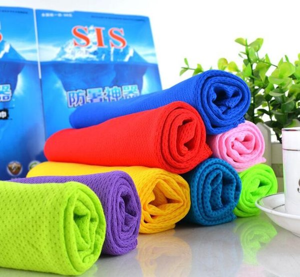 Neck head Cold Ice silk Cooling Towel Summer Sports Towel 30X80cm Hypothermia Outdoor Camping Fishing Wipe sweat colourful Sweatband