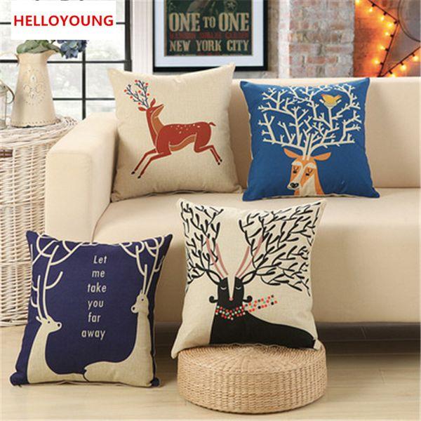 BZ048 Luxury Cushion Cover Pillow Case Home Textiles supplies Lumbar Pillow Deer theme decorative throw pillows chair seat