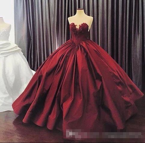 2017 Burgundy Quinceanera Dresses Ball Gown Sweetheart Lace Up Floor Length Masquerade Dresses Satin Appliques Vintage Long Prom Gowns