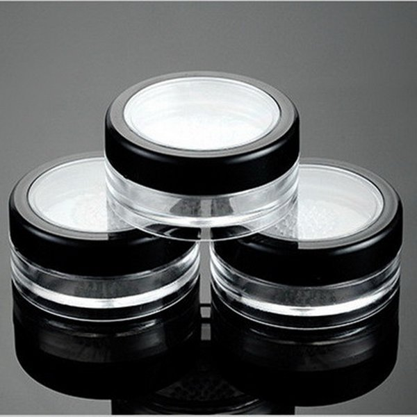 100pcs/lot 10g Empty Makeup Jar Container Powdery Cake Box Clear Plastic Loose Powder Jar Cosmetic Packing Jar With Sifter