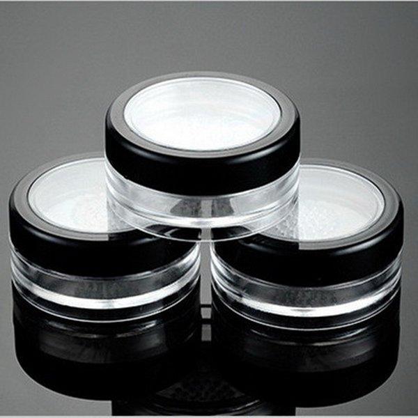 100 unids / lote 10g Contenedor Vacío Maquillaje Contenedor Powdery Caja de Pastel de Plástico Transparente Polvo Suelto Tarro Cosmético Tarro de Embalaje Con Tamiz