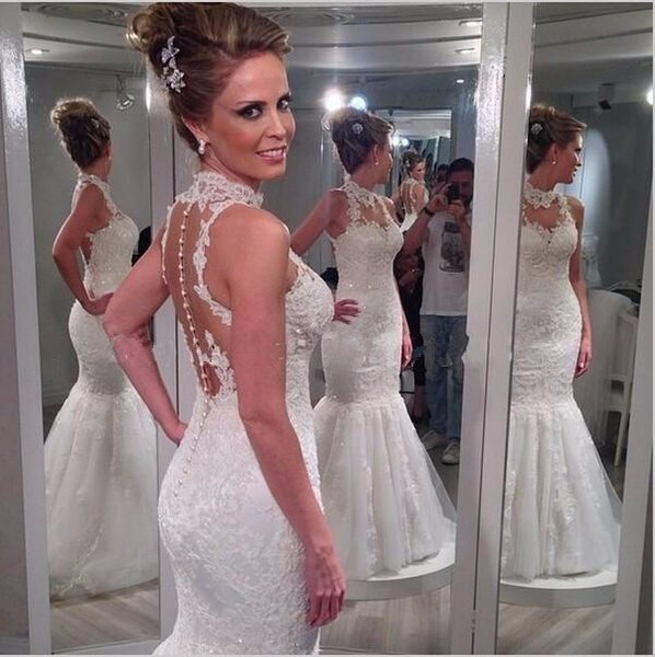 Vintage vestido de noiva Wedding Dresses 2016 High Neck Lace Open Back Sweep Train Applique Plus Size Mermaid Bridal Gowns Cheap