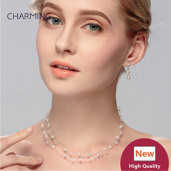 cheap jewelry necklace and earrings pierced ears 2 pcs Bridal jewelry sets Imitation jewellery charms style New fashion jewelry Wholesale se