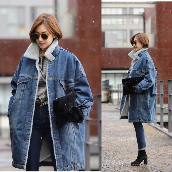 Wholesale- Denim Coats Jackets for Women 2016 Winter Thick Warm Down Parkas Coats Cotton Padded Loose Blue Jeans Jackets J22-1