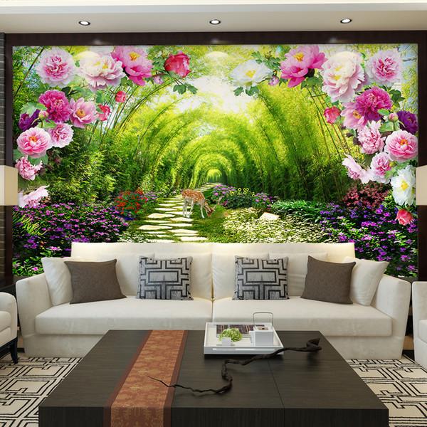 Acheter Personnalisé Murales Non Tissé Impression Mur Papier Peinture Lumineux Peony Fleurs Salon Chambre Décor Papier Peint Pour Murs 3d De 44 5 Du