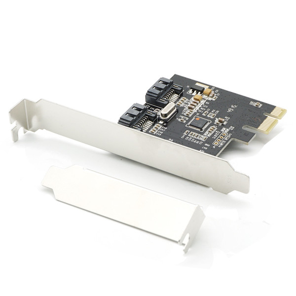 top popular PCI-E Express SATA2 SATA2.0 3Gb s 2 Port SATA II Expansion Card JMB362 Chipset Low Profile Bracket 2021