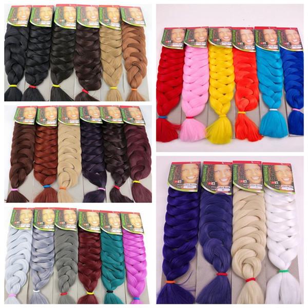 top popular Synthetic Braiding Hair Jumbo Braids Hair Bulk 82inch 165G Crochet Twist Synthetic Hair Extensions In Stock 2019
