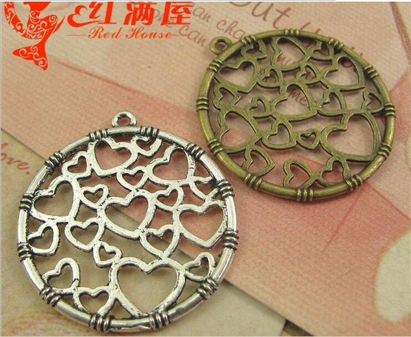 32MM Antique Bronze link heart round tag charms for bracelet, metal dangle tibetan silver pendant for necklace, fashion alloy brass charm