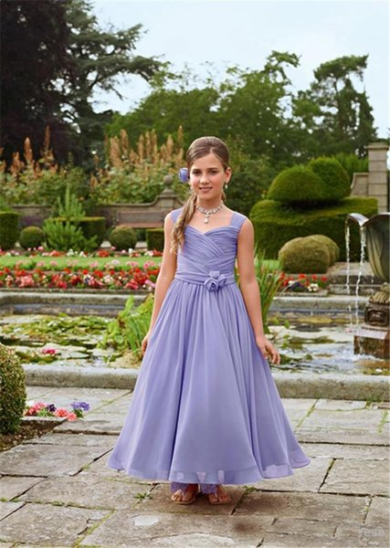 Cheap Chiffon Lavender Ankle Length Flower Girls Dresses For Wedding Bridesmaid Handmade Flowers Ruched Children Birthday Clothing