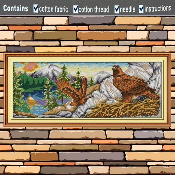 Eagle scenery lake forest animal painting 11CT Counted Print on canvas DMC 14CT diy Cross Stitch Needlework Kits Embroidery Sets