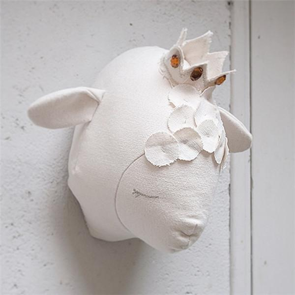 3D Sheep Head Wall Mounted Animal Heads Wall Stickers for Kids Rooms Animals Baby Room Decoration Accessories Stuffed Toys Gifts Children
