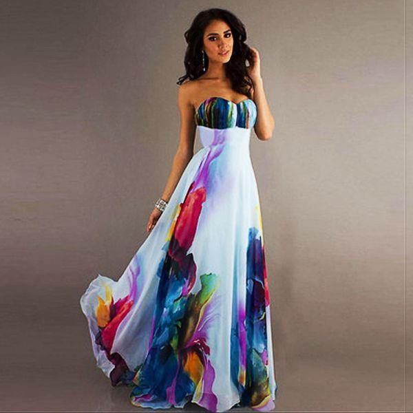 Venda por atacado - Robe Sexy Mulheres Summer Dress Sexy Strapless Maxi Vestido Floral Imprimir Longo Vestido De Festa Vestidos Ucrânia Plus Size Vestido De Festa