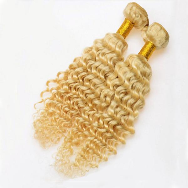 Blonde Deep Wave Human Hair Bundles 613 Brazilian Peruvian Indian Malaysian Virgin Hair Weaves 3pcs Double Weft Extensions