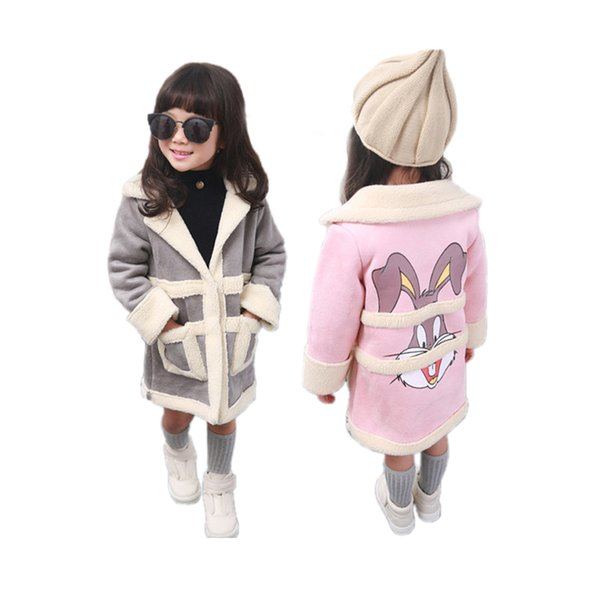 cute girl suede coat cartoon rabbit style thick Winter leather coat jacket for 2-8yrs girls kids children warm outerwear clothes