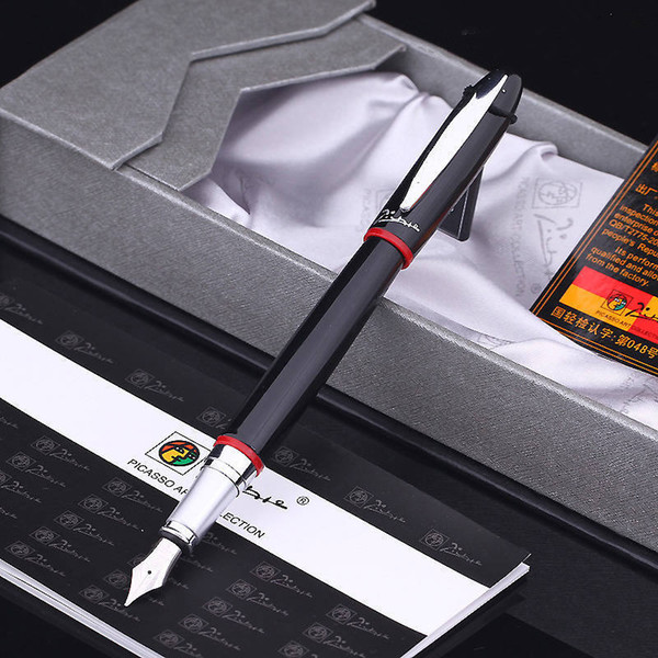 best selling Picasso fountain pen,Picasso 907 Montmartre Black M Nib Fountain Pen Red and Yellow Ring