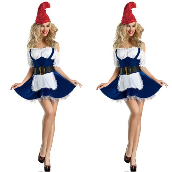 New Sexy Girls' Christmas Costumes Adult Christmas Clothes Beer Girl Costumes Apparel Blue Maid Game Uniforms Lady