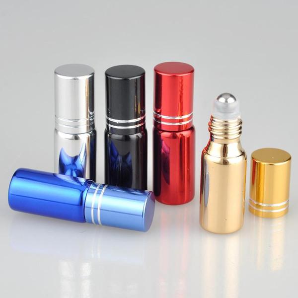 500 pz / lotto 5 ML Roller Bottles 5CC UV Vetro Metallo Rotolo su Bottiglia Per Oli Essenziali 5 colori per la scelta