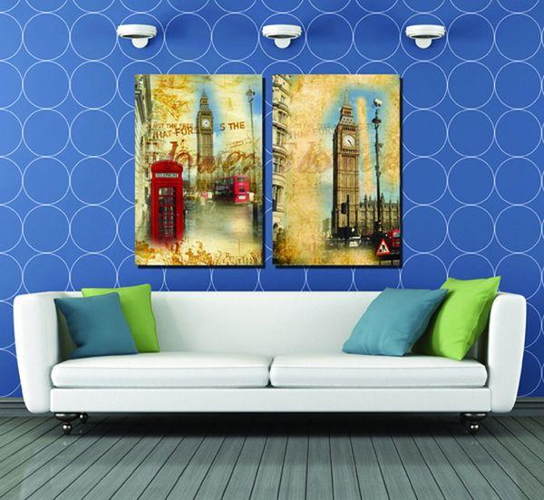 No Sale Profit The British City Impression Wholesale 2pcs Modular Picture Big Ben Painting Modern Decoration In The Livingroom