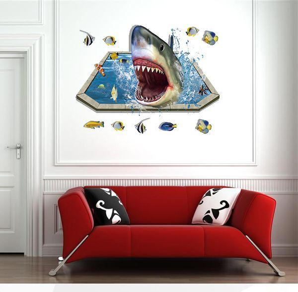 9023 Waterproof Floor Decor 3D Fantasy Underwater World Sharks Mural PVC Wall Sticker Self-adhesion Bathroom Kids Room Decal