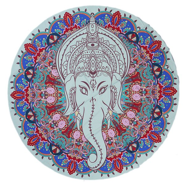 59 Inch Round Yoga Mat Bohemian Mandala Tapestry Wall Decorative Hanging Tapestries Summer Beach Towel Throw Rug Blanket Gift - Elephant