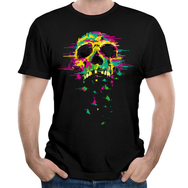 Bold Design Camiseta Hombre Neon Skull Print On Black Tops Camiseta manga corta Hombre O Neck Camisetas Pure Cotton Cloth Noise