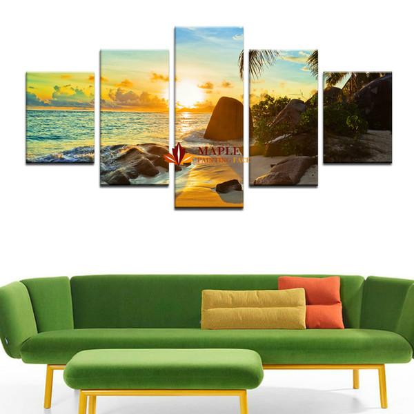 5 Pcs Haute Qualité Grand Art Sur Toile Pas Cher La Famille Décore Seaview Imprimer dans Sur La Toile Mur Art Photo Cadeau Sans Cadre Impressions Sur Toile