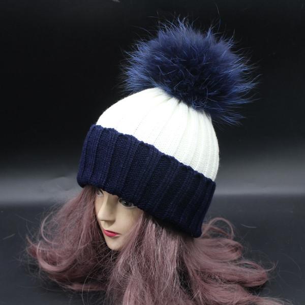 Top quality 2017 Ladies Winter Fur Hats For Women Colorful Fur Pom Poms Bobble Hat Female Patchwork Knitting Beanie Caps