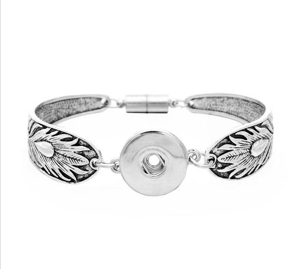 6 modes 21cm Ginger Snaps NOOSA Jewelry Snap Bracelets 18MM Fit Snap Button Carve Flower Magnetic Tube Bar Clasp Ginger Snaps Bracelet
