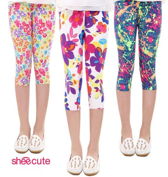 2017 Girls Spring Autumn Summer Tights Leggings Cartoon Pants Children Elastic Waist Printing Milk Fiber Seven Leggings 16 colors B4692